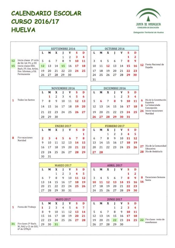 Calendario Escolar Huelva.Calendario Escolar Provincial De Huelva Para El Curso 2016 2017